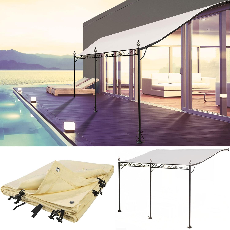 Auvent pergola adoss pour terrasse gm 3 x 4 m avec toile for Toile a tendre pour terrasse