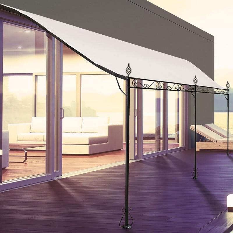 Auvent pergola adoss pour terrasse gm 3 x 4 m avec toile crue pa - Toile auvent de terrasse ...