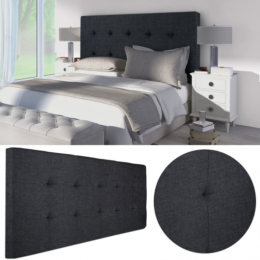 t te de lit capitonn e en tissu 160x58 cm noire meubles et am nage. Black Bedroom Furniture Sets. Home Design Ideas