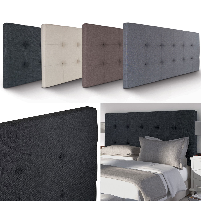 t te de lit capitonn e en tissu 160x58 cm noire accessoires maison. Black Bedroom Furniture Sets. Home Design Ideas