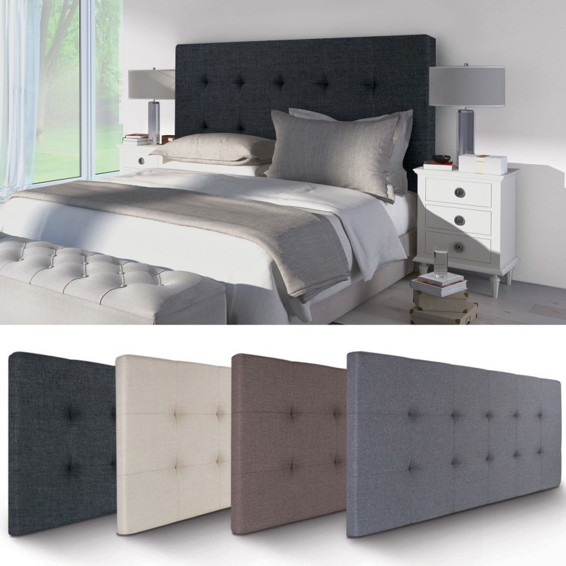t te de lit capitonn e en tissu 160x58 cm noire accessoires maison. Black Bedroom Furniture Sets. Home Design Ideas