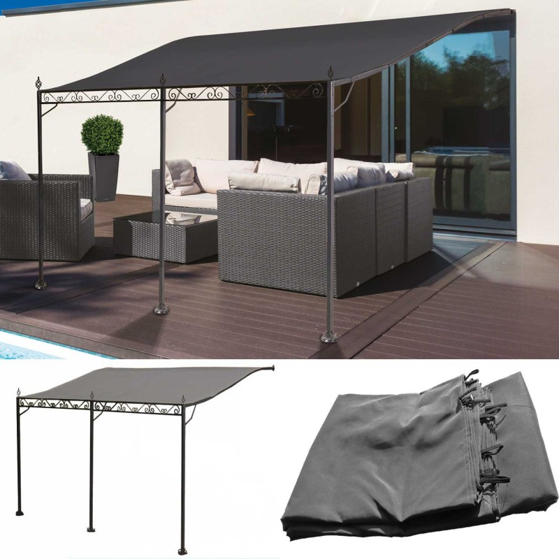 auvent pergola adoss pour terrasse gm 3 x 4 m avec toile grise pa. Black Bedroom Furniture Sets. Home Design Ideas