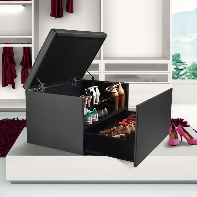 Coffre rangement banquette luxe gris spécial chaussures Accessoire...