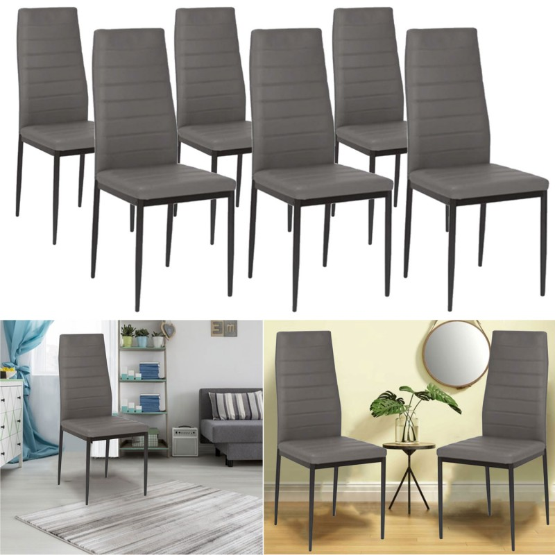 lot de 6 chaises romane grises pour salle manger meubles et am n. Black Bedroom Furniture Sets. Home Design Ideas
