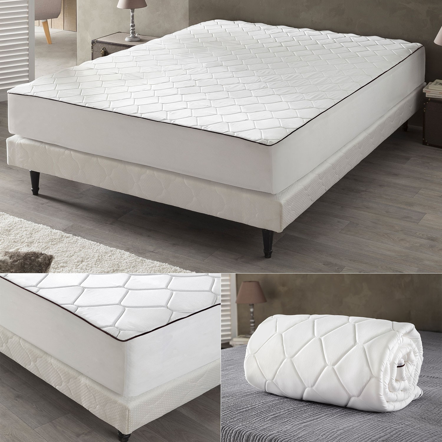 drap housse m moire de forme 160x200 cm surmatelas mousse. Black Bedroom Furniture Sets. Home Design Ideas