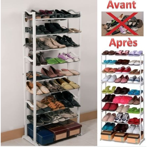 porte chaussures tag re chaussures meuble de rangement 30 paires. Black Bedroom Furniture Sets. Home Design Ideas