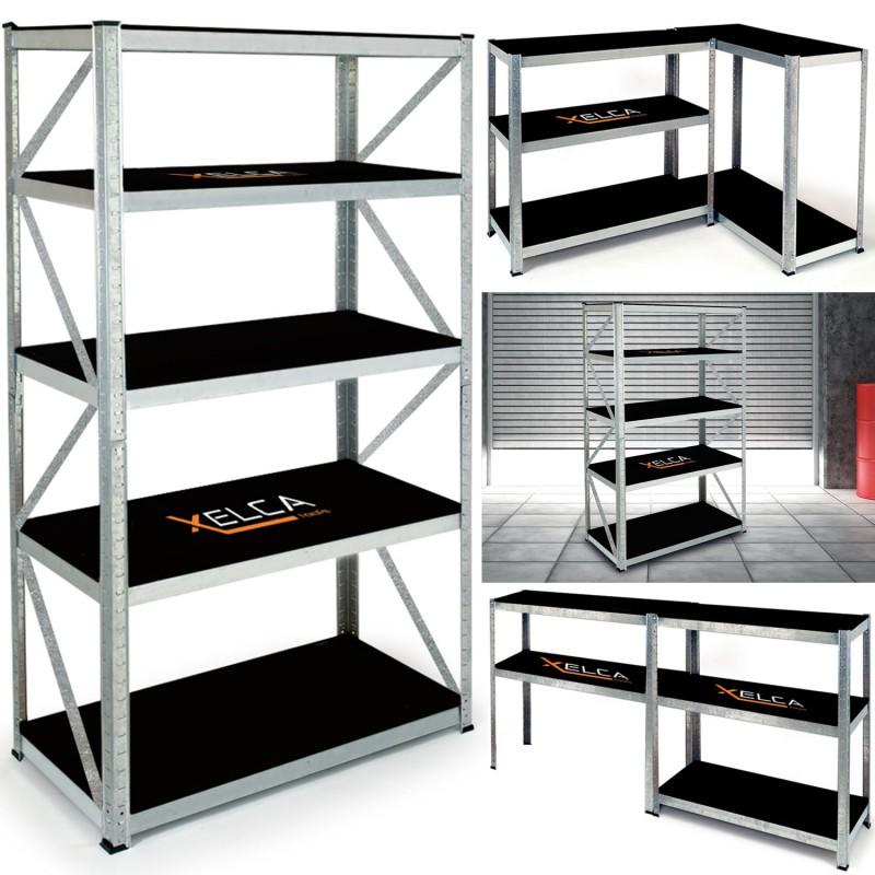 etag re pro capacit 875 kg noire et galva 5 plateaux. Black Bedroom Furniture Sets. Home Design Ideas