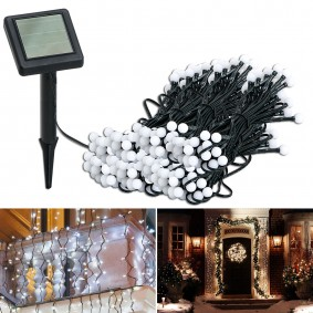 Guirlande solaire 200 boules lumineuses blanches