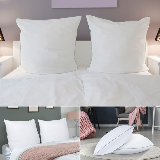 lot de 2 oreillers confort plume d 39 oie 60x60 cm anti acariens conf. Black Bedroom Furniture Sets. Home Design Ideas