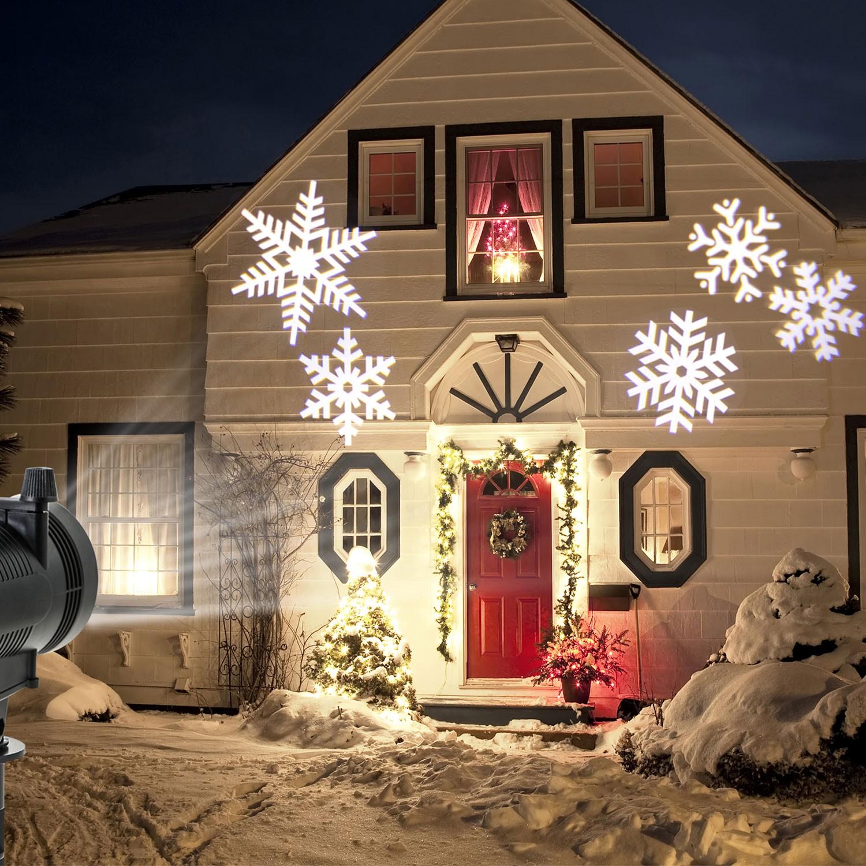 projecteur led motifs de no l blancs d co pour fa ade eclairage et. Black Bedroom Furniture Sets. Home Design Ideas
