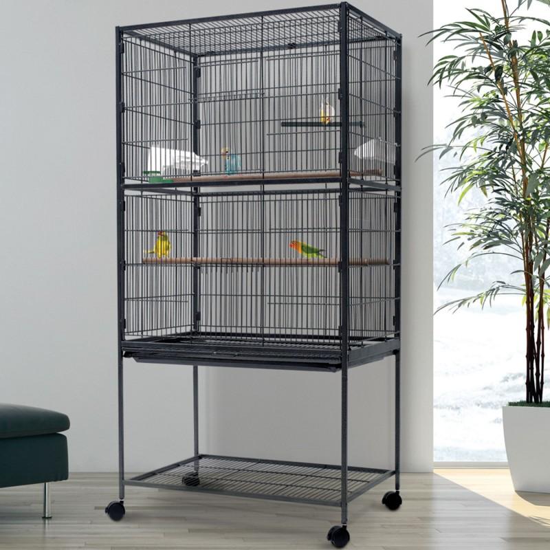 Voli re xxl cage oiseaux sur roulettes pour canaris et for Voliere oiseau exterieur