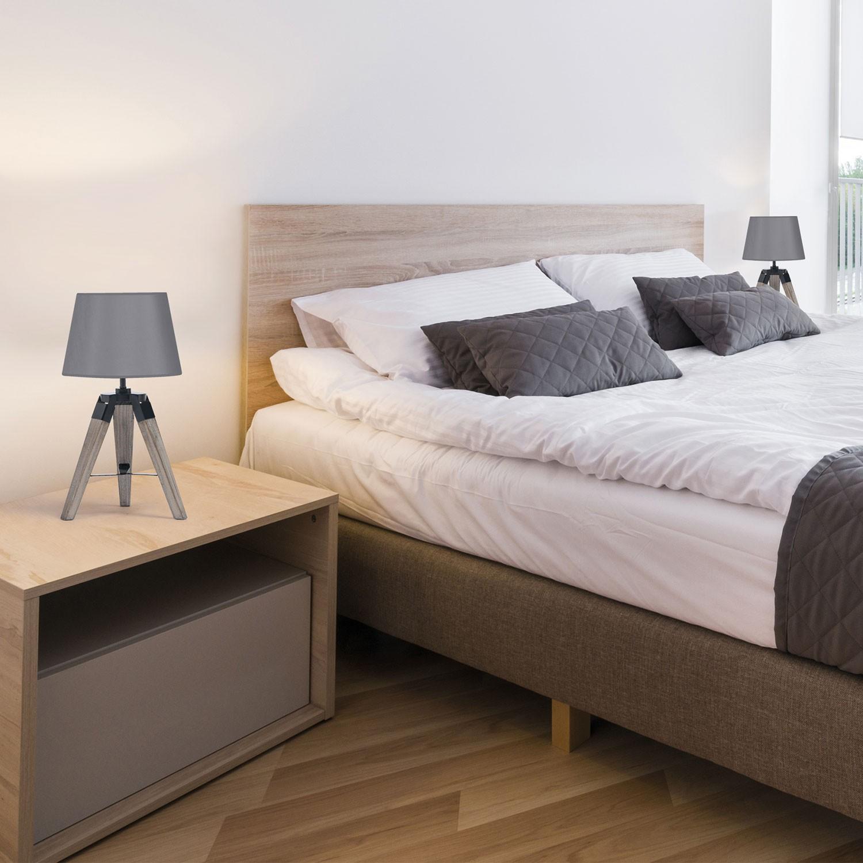 lot de 2 lampes de chevet tr pied en bois grises. Black Bedroom Furniture Sets. Home Design Ideas