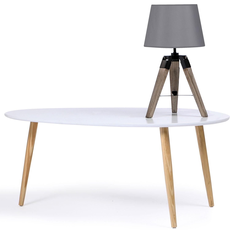 Monter Une Lampe De Chevet lot de 2 lampes de chevet trépied en bois foncé grises idmarket