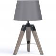 Lampe de chevet grise lot x 2 sur trepied en bois
