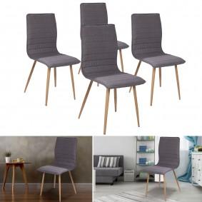 Chaises X4 capitonnées tissu gris pour salle à manger