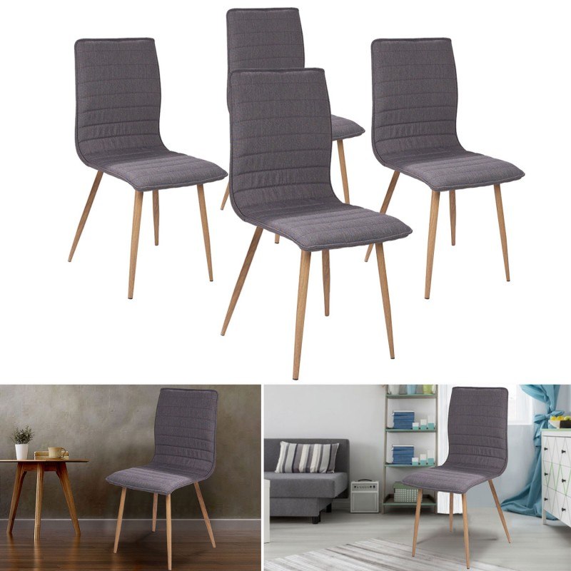 chaises x4 polga capitonn es tissu gris pour salle manger ebay. Black Bedroom Furniture Sets. Home Design Ideas