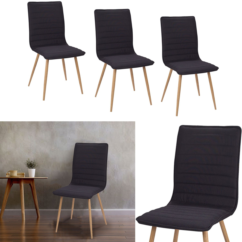 chaises x4 polga capitonn es tissu noir pour salle. Black Bedroom Furniture Sets. Home Design Ideas