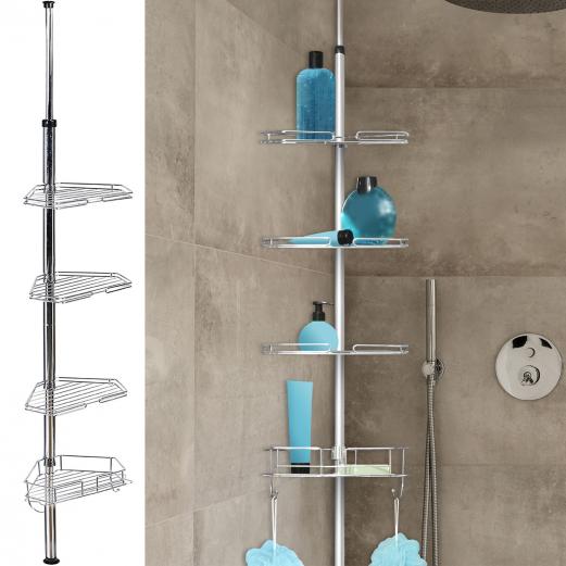 Etagère d'angle de douche télescopique en acier inoxydable