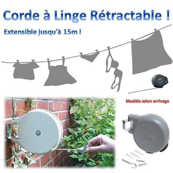 Corde linge r tractable avec rembobinage automatique 15m for Sechoir a linge exterieur retractable