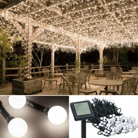 Guirlande solaire 400 boules lumineuses blanches