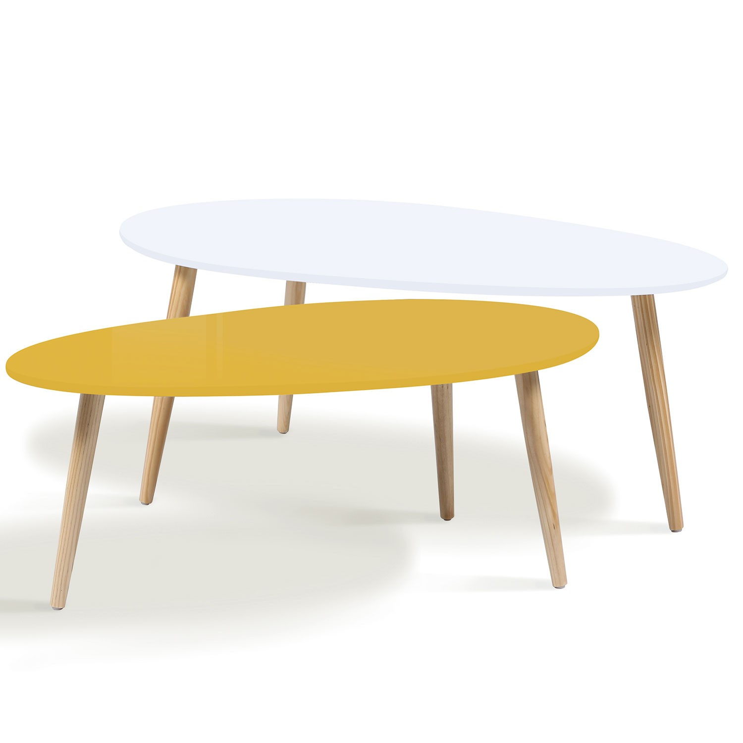 Lot de 2 tables basses gigognes laqu es jaune blanc - Table basse scandinave gigogne ...
