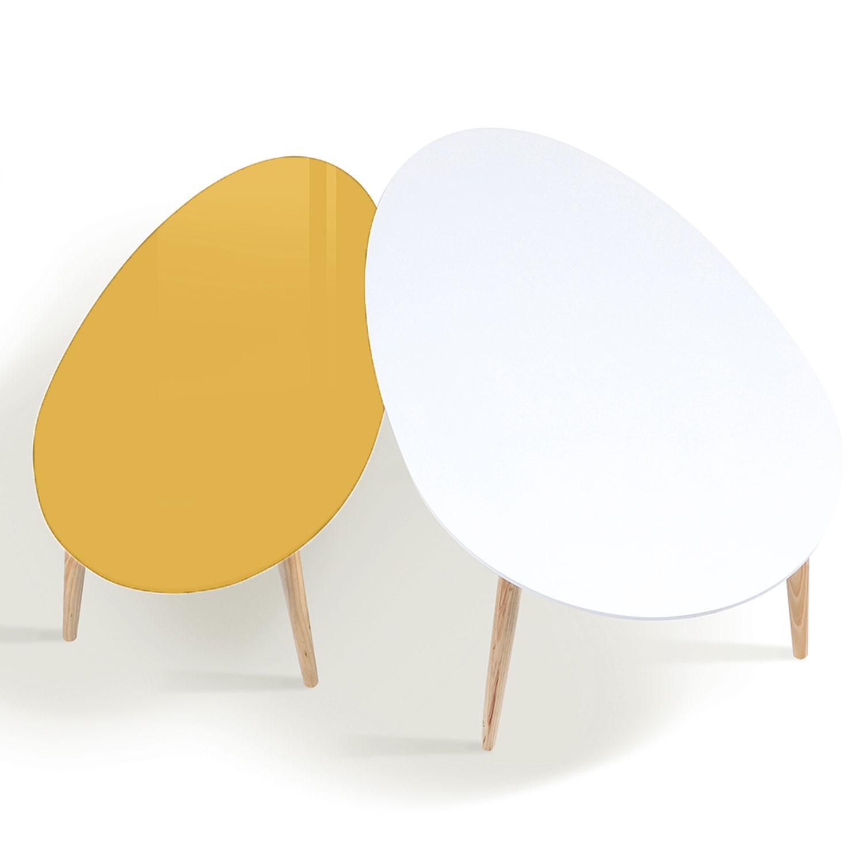 Lot De 2 Tables Basses Gigognes Laquees Jaune Blanc Scandinave Meu