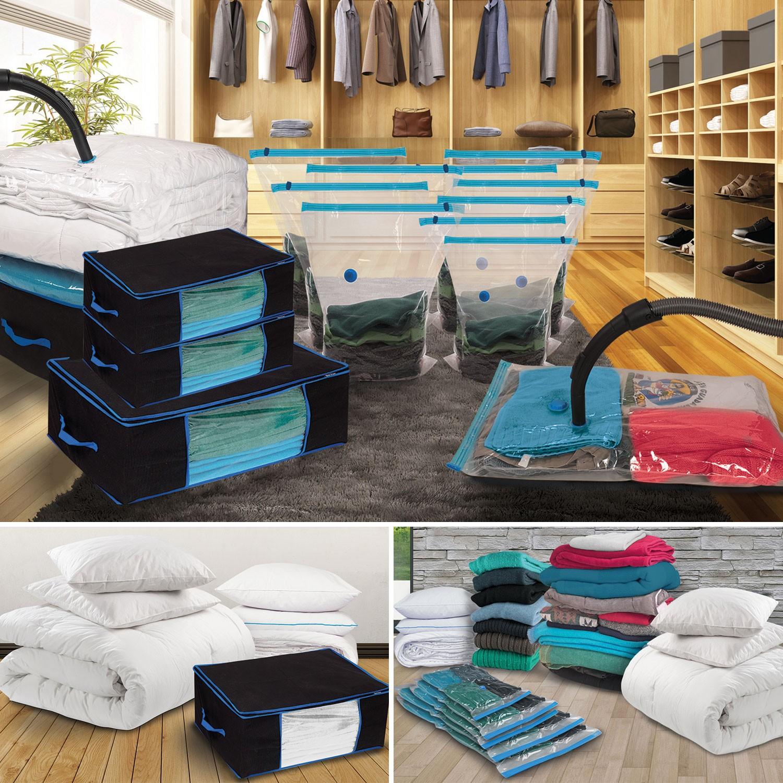 lot de 10 housses sous vide et 4 coffres rangement linge. Black Bedroom Furniture Sets. Home Design Ideas