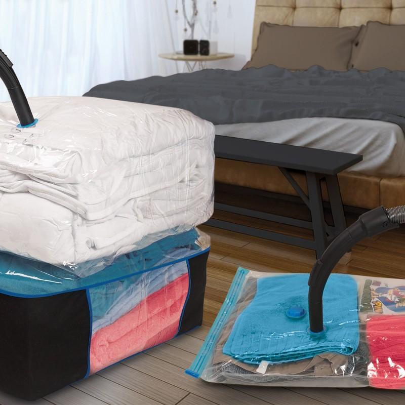 lot de 10 housses sous vide et 4 coffres rangement linge et entret. Black Bedroom Furniture Sets. Home Design Ideas