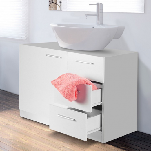 Meuble sous lavabo blanc avec 3 tiroirs pour vasque de for Meuble de salle de bain avec tiroir