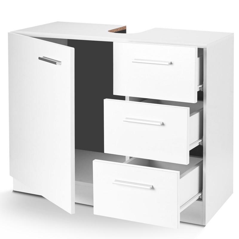 Meuble sous lavabo blanc avec 3 tiroirs pour vasque de for Meuble avec nombreux tiroirs