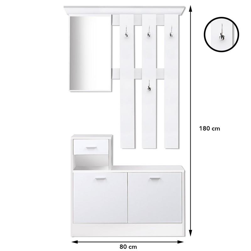 meuble vestiaire dentre bois blanc portes blanches avec miroir