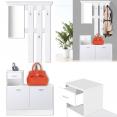 Meuble vestiaire d'entrée bois blanc portes blanches avec miroir