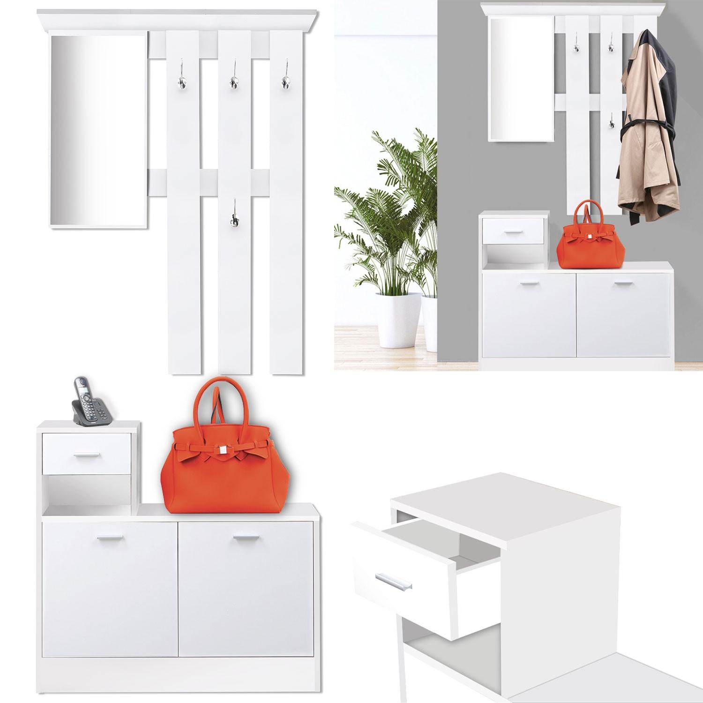 vestiaire dentre avec miroir design blanc portes blanches meuble