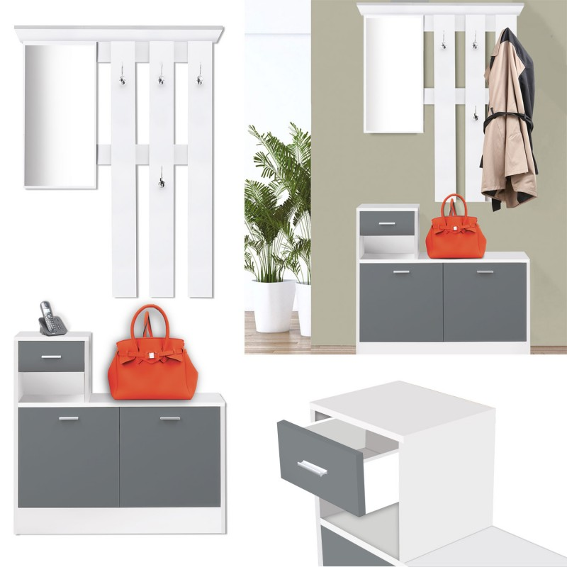 vestiaire d 39 entr e avec miroir design blanc portes grises meubles. Black Bedroom Furniture Sets. Home Design Ideas