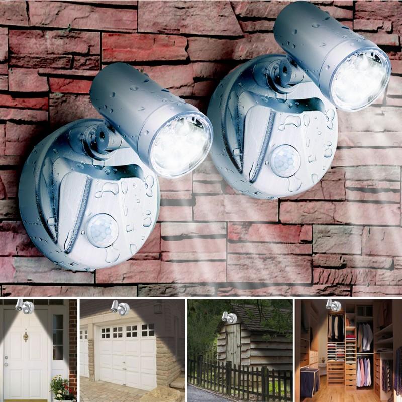 Lampe spot x2 7 leds sans fil avec d tecteur de mouvement eclairag - Lampe a detecteur de mouvement ...