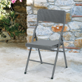 Chaise d'appoint pliante portable effet résine tressée grise