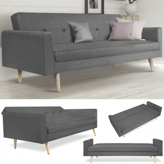 canap droit 3 places lars convertible gris scandinave meubles et. Black Bedroom Furniture Sets. Home Design Ideas
