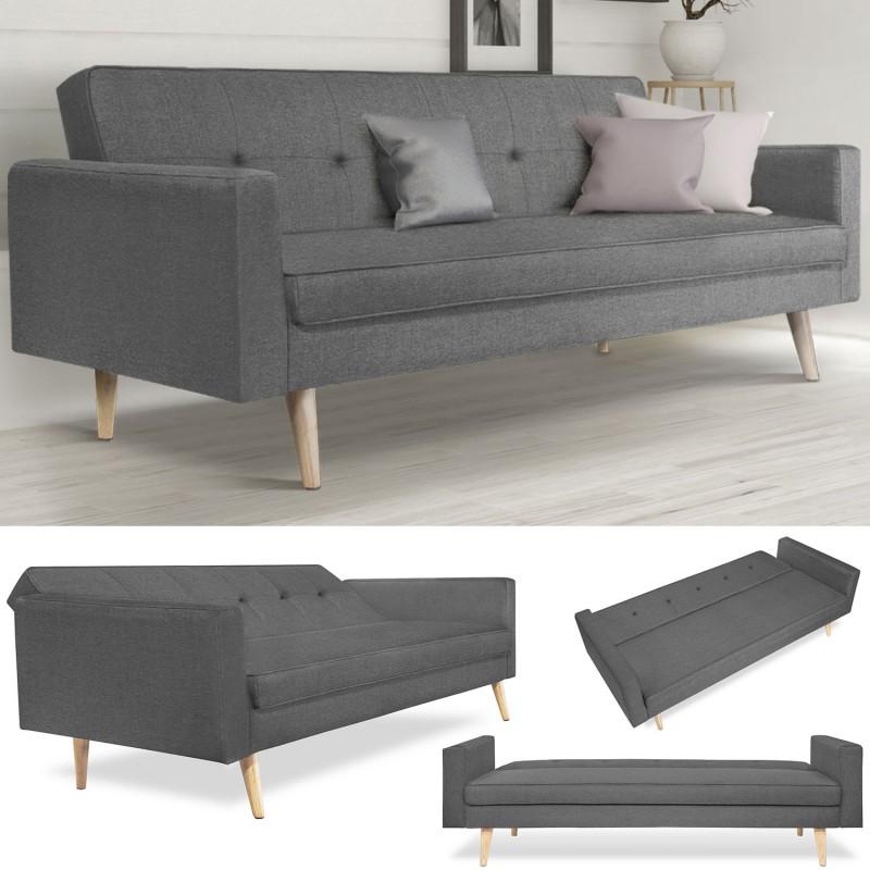 canap droit 3 places lars convertible gris scandinave. Black Bedroom Furniture Sets. Home Design Ideas