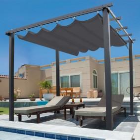 Pergola toit rétractable gris 3x3m tonnelle 4 pieds
