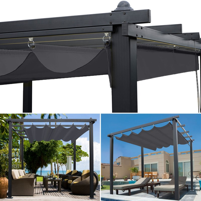 pergola toit r tractable gris 3x3m tonnelle 4 pieds. Black Bedroom Furniture Sets. Home Design Ideas