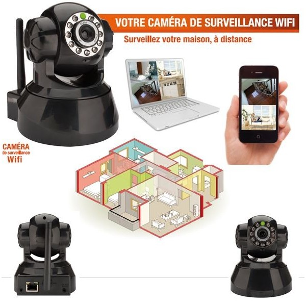cam ra de surveillance sans fil wifi motoris e avec d tecteur de pr sence p. Black Bedroom Furniture Sets. Home Design Ideas