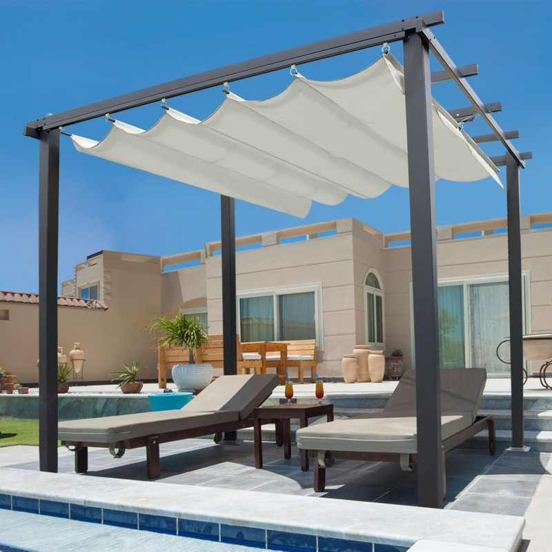 pergola toit r tractable beige 3x3m tonnelle 4 pieds. Black Bedroom Furniture Sets. Home Design Ideas