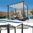 Pergola toit rétractable beige 3x3m tonnelle 4 pieds