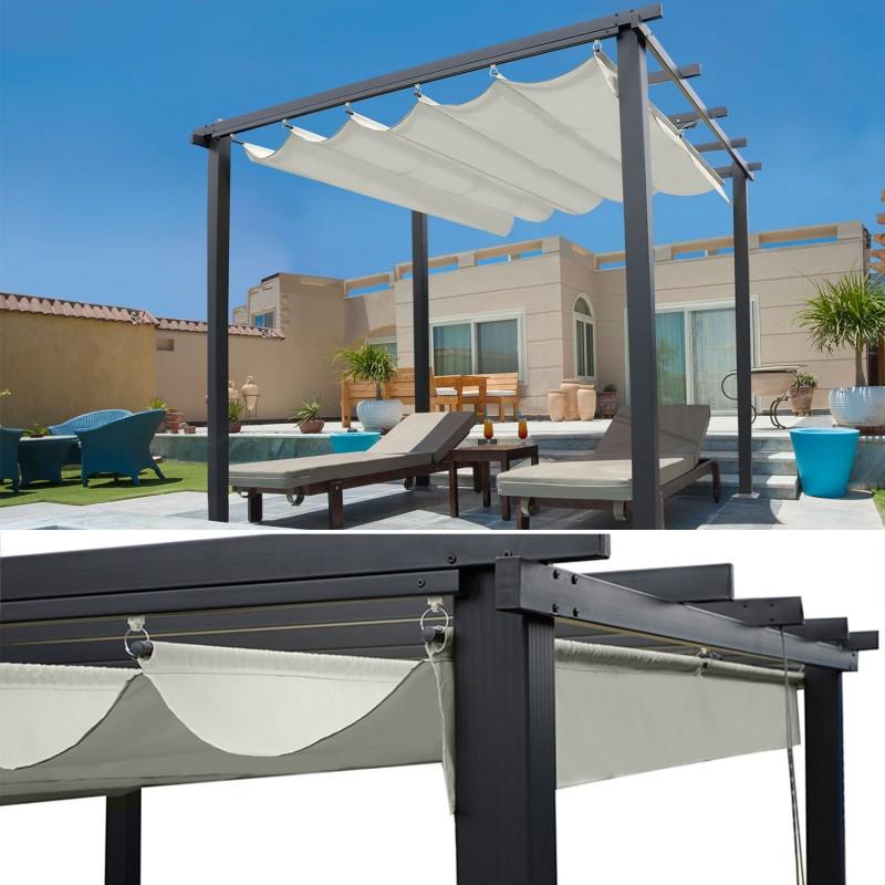 pergola toit r tractable beige 3x3m tonnelle 4 pieds. Black Bedroom Furniture Sets. Home Design Ideas