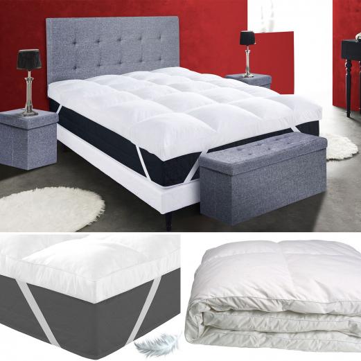 surmatelas 140x190cm ultra confort 10 cm plumes d 39 oie confort et l. Black Bedroom Furniture Sets. Home Design Ideas