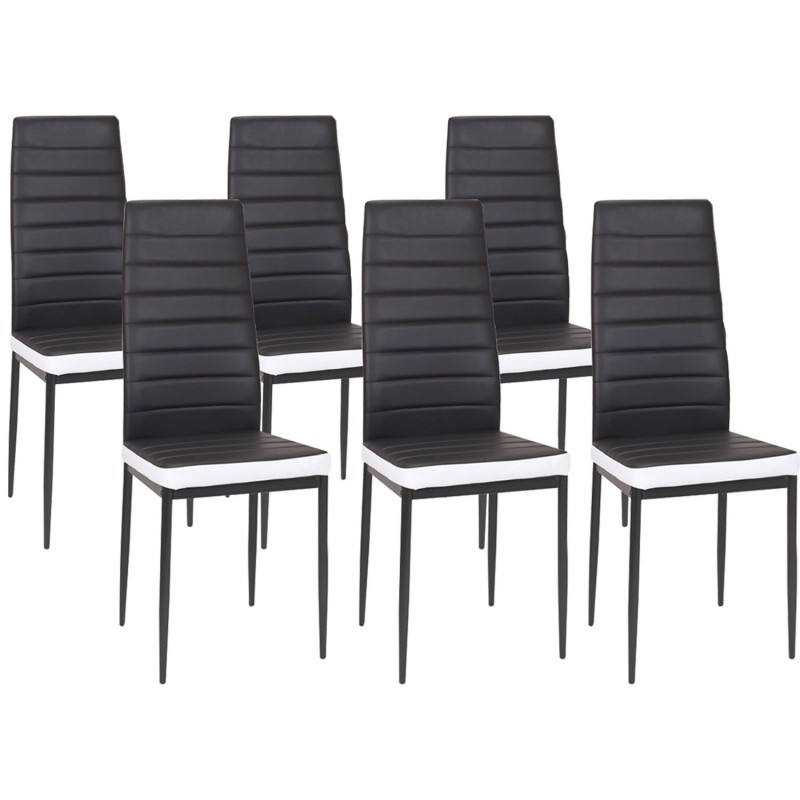 lot de 6 chaises romane noires bandeau blanc pour salle manger m. Black Bedroom Furniture Sets. Home Design Ideas