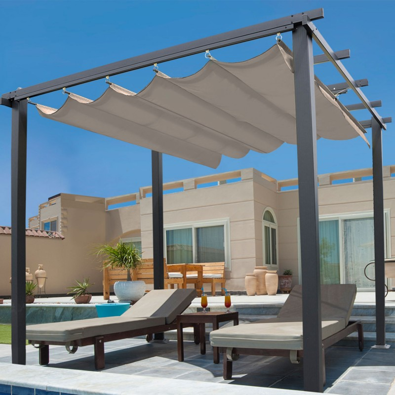 pergola toit r tractable taupe 3x3m tonnelle 4 pieds paravent et a. Black Bedroom Furniture Sets. Home Design Ideas