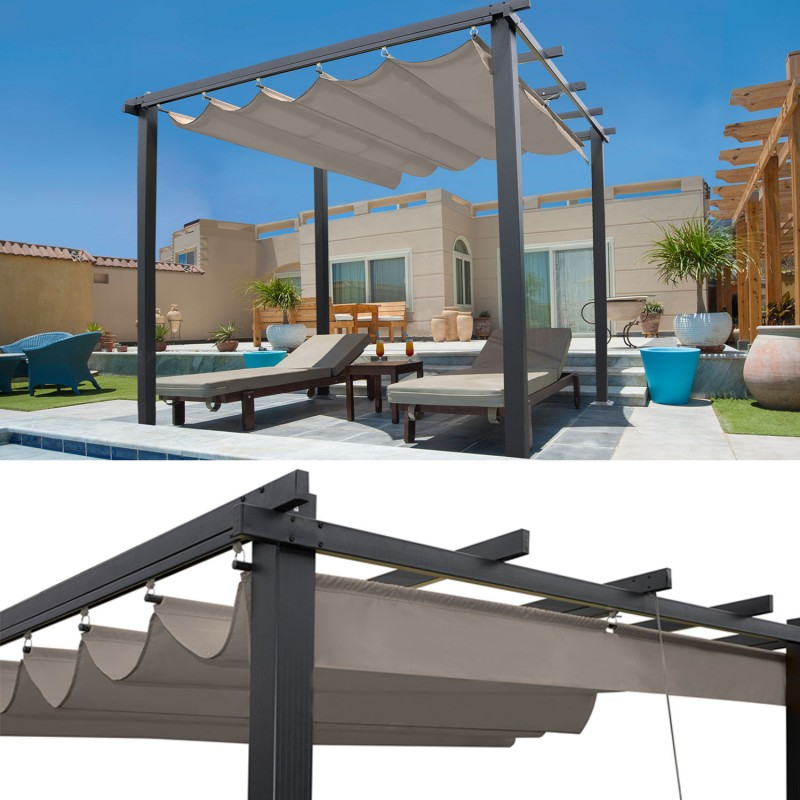 pergola toit r tractable taupe 3x3m tonnelle 4 pieds. Black Bedroom Furniture Sets. Home Design Ideas