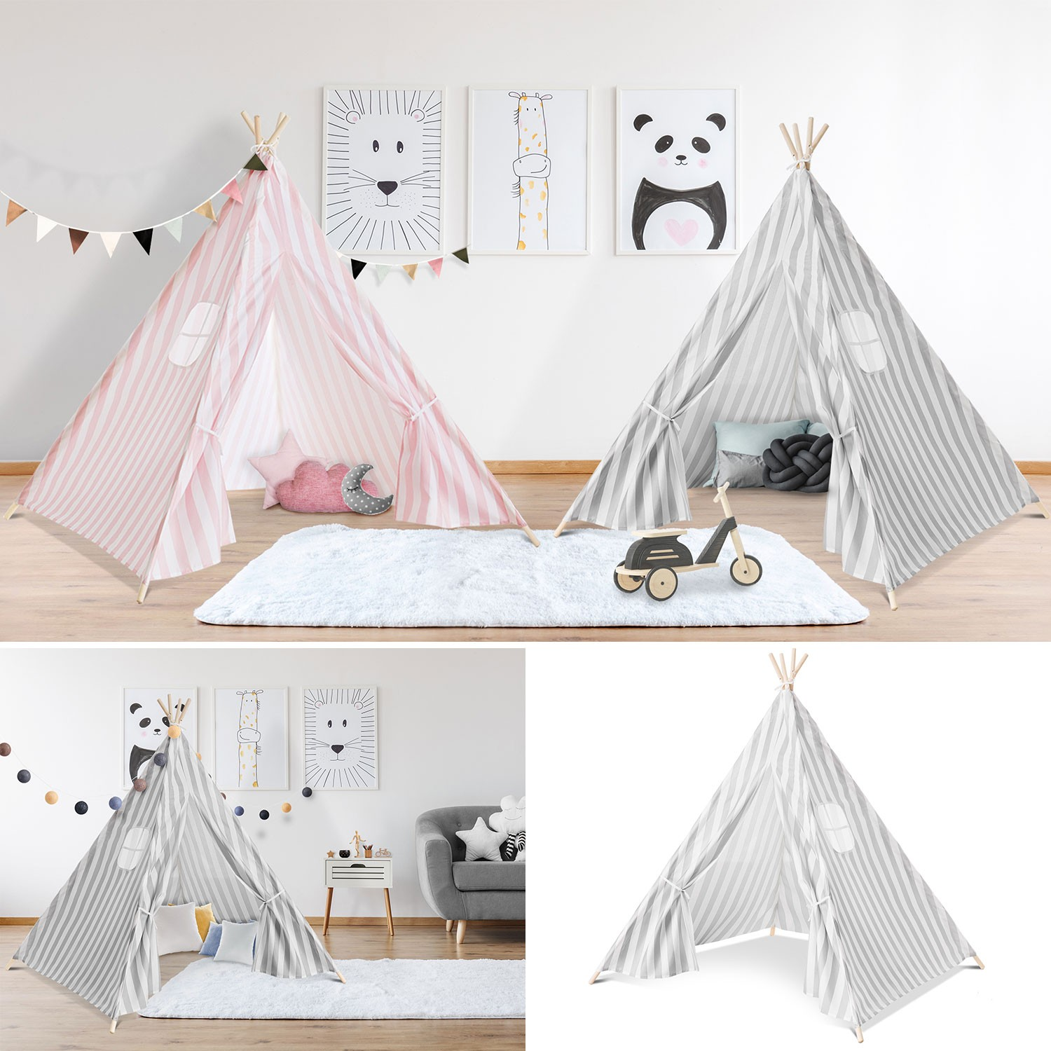 tipi d 39 indien ray gris tente de jeux pour enfant piscine et jeux. Black Bedroom Furniture Sets. Home Design Ideas