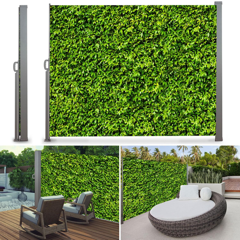 Paravent ext rieur r tractable 300 x 160 cm motif feuillage parave - Paravent exterieur retractable ...